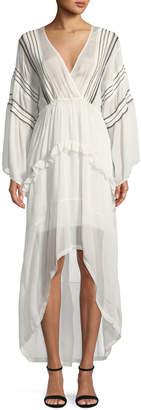 IRO Opsey Surplice Long-Sleeve High-Low Dress