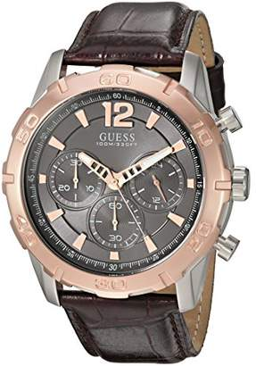 GUESS Men's U0864G1 Sporty Stainless Steel Multi-Function Watch with Chronograph Dial and Genuine Leather Strap Buckle