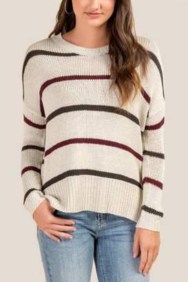 francesca's Terry Multi Stripe Sweater - Taupe