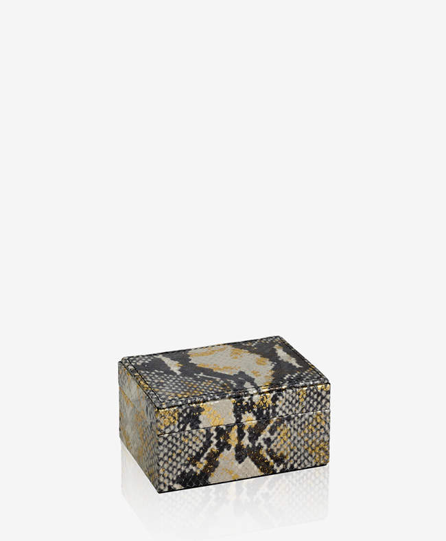 Small Box Gold Wash Embossed Python Leather