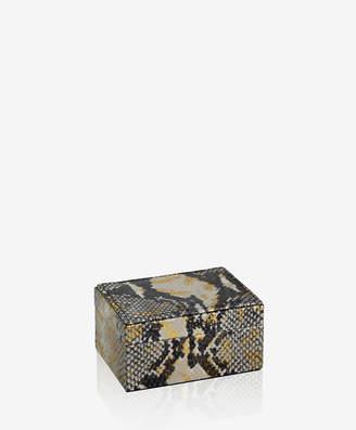 GiGi New York Small Box Gold Wash Embossed Python Leather