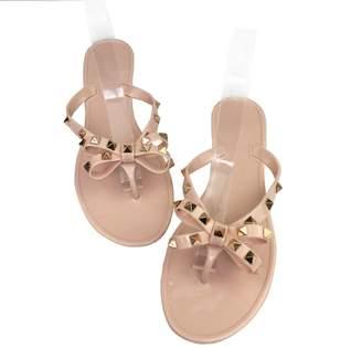 bb45eac06 Tengyu Womens Rivets Bowtie Flip Flops Jelly Thong Sandal Rubber Flat  Summer Beach Rain Shoes