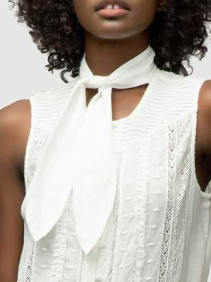 Frame Lace Tie Neck Top