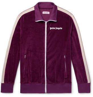 Palm Angels Webbing-Trimmed Cotton-Blend Velvet Track Jacket