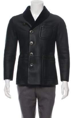 Giorgio Armani Shearling-Lined Suede Coat