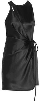 Alexander Wang Wrap-Effect Cutout Satin Mini Dress