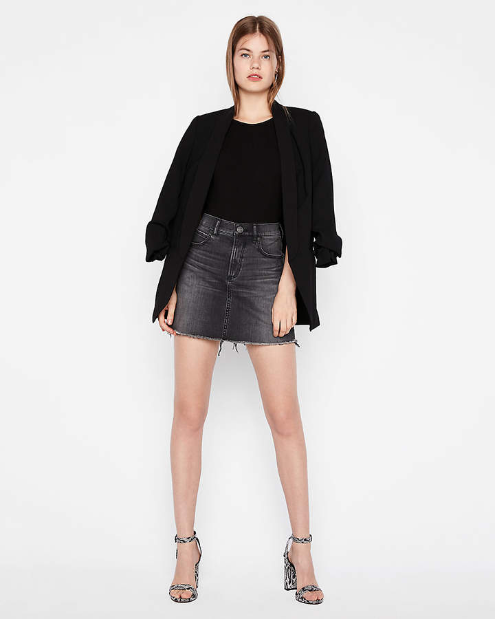 Express High Waisted Raw Hem Denim Mini Skirt
