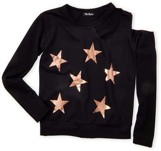 Miss Popular (Girls 7-16) Long Sleeve Star Cold Shoulder Top