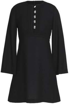 Vanessa Seward Embellished Wool-Crepe Mini Dress