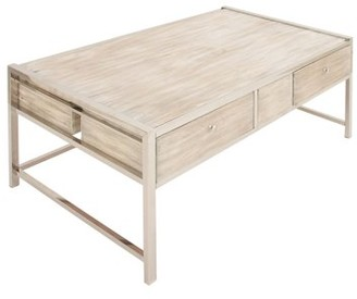 DecMode Decmode Contemporary 19 x 47 inch rectangular white pine wood coffee table with stainless steel legs, White