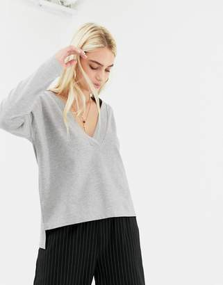 Noisy May deep v-neck sweatshirt in gray