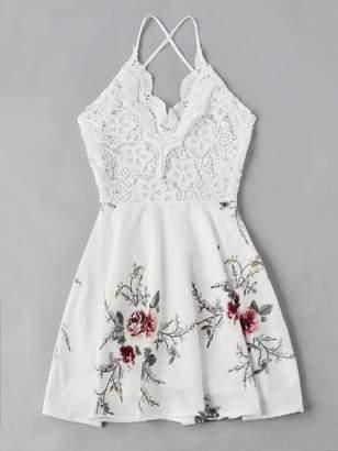 Shein Plus Floral Print Open Back Dress