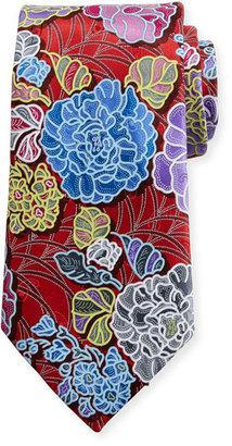 Ermenegildo Zegna Quindici 3D Flower Tie, Red $285 thestylecure.com