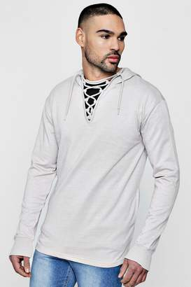 boohoo Lace Neck Hoodie