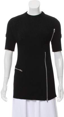 Celine Zipper-Accented Rib Knit Sweater