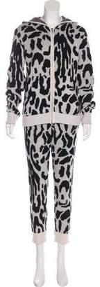Baja East Cashmere Leopard Print Track Suit