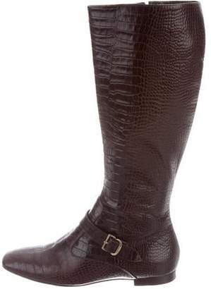 Oscar de la Renta Leather Knee-High Boots