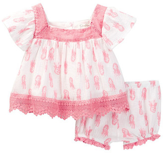 Jessica Simpson Cotton Pineapple Dress & Bloomer Set (Baby Girls) $35 thestylecure.com