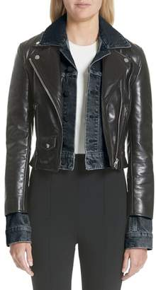 Alexander Wang Denim & Leather Layered Jacket