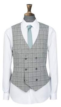 Mens Black And White Checked Super Skinny Fit Waistcoat