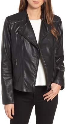Bernardo Shoulder Detail Leather Moto Jacket