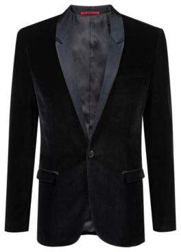 HUGO Boss Extra-slim-fit velvet blazer silk lapels 40R Black