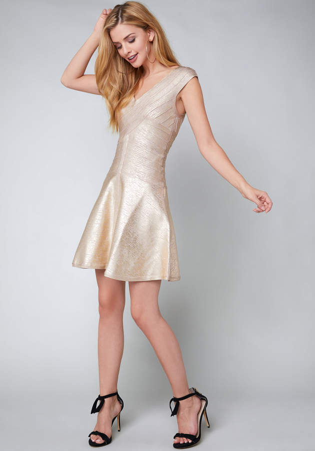 Foil Flared Bandage Dress
