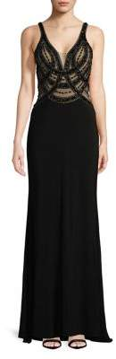 Sean Collections Illusion V-Neck Floor-Length Dress