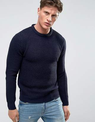 Brave Soul Crew Neck Waffle Knit Sweater