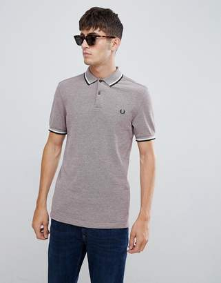 Fred Perry oxford weave twin tipped polo in burgundy