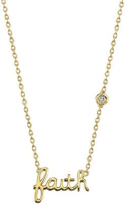 Sydney Evan Syd by 14K Yellow Gold Plated Sterling Silver Diamond 'Faith' Pendant Necklace - 0.015 ctw