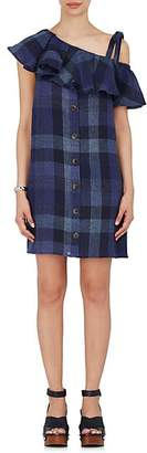 Sea WOMEN'S PLAID LINEN SLEEVELESS SHIFT DRESS - BLUE SIZE 2