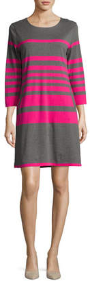 Joan Vass Striped Cotton Two-Pocket Shift Dress, Gray/Pink, Petite