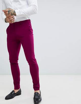 Asos DESIGN wedding super skinny suit pants in plum