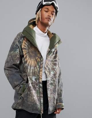 Burton Snowboards Hilltop Ski Jacket Hooded Insulated in Tie Dye Print
