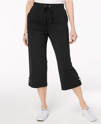 Karen Scott French Terry Drawstring Capri Pants