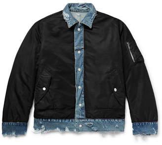 Amiri Reversible Shell And Distressed Denim Jacket