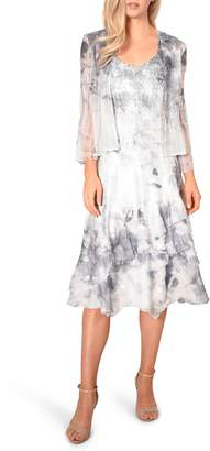 Komarov Floral Charmeuse & Chiffon Dress with Jacket