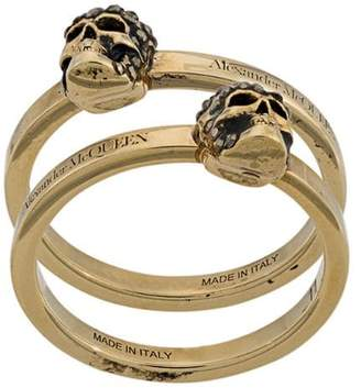 Alexander McQueen two-piece skull ring set