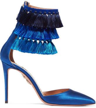 Aquazzura Claudia Schiffer Loulou's Tasseled Satin Pumps - Blue