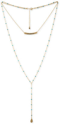 "Rachel Roy Gold-Tone Beaded Wanderlust Double-Layer Lariat Necklace, 15""/28"" + 2"" extender"