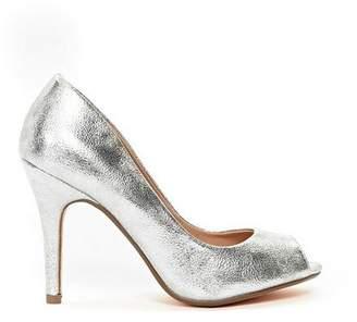 Wallis Silver Peep Toe Court Shoe