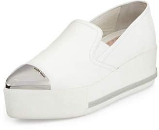 Miu Miu Leather Cap-Toe Platform Sneakers