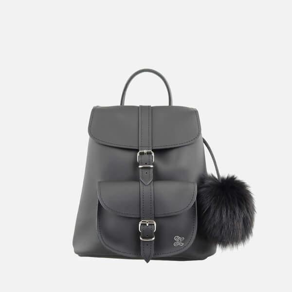 Grafea Women's Fluffy Fur Pom Backpack - Black