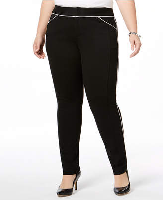 INC International Concepts I.N.C. Plus Size Piped Skinny Pants, Created for Macy's
