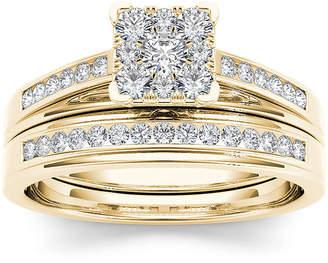 MODERN BRIDE 1/2 CT. T.W. Diamond Square 10K Yellow Gold Bridal Ring Set
