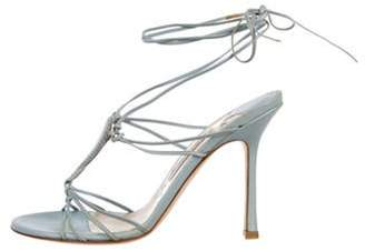 Jimmy Choo Leather Wrap-Around Sandals Blue Leather Wrap-Around Sandals