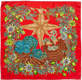 Hermes Passiflores By Valerie Dawlat-Dumoulin Silk Scarf