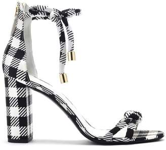 Oscar de la Renta Gingham Satin and Leather Freya Sandals
