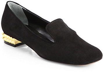 Fendi Polifonia Suede Spiked-Heel Smoking Slippers